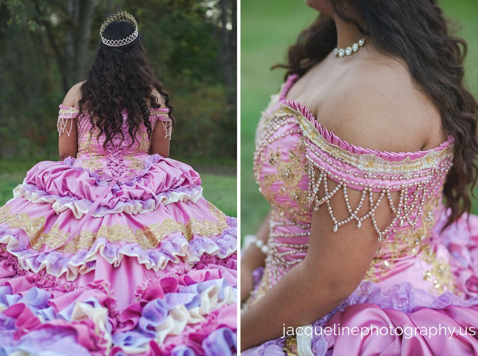 Quinceanera dress Sweet Sixteen: pink purple white and gold pearls with ruffles