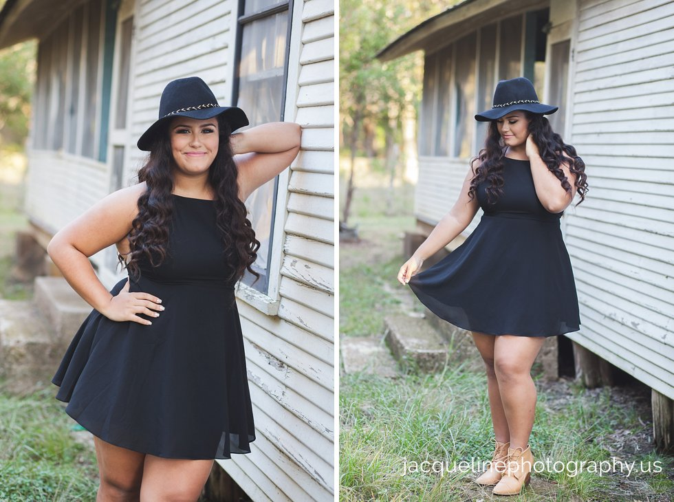 Quinceanera Senior in black dress for her photography session in dallas tx